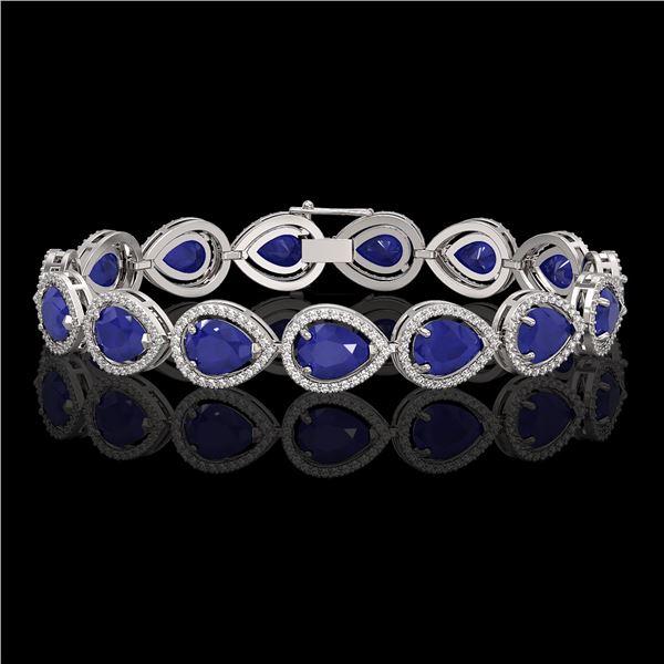 30.06 ctw Sapphire & Diamond Micro Pave Halo Bracelet 10k White Gold - REF-344W2H