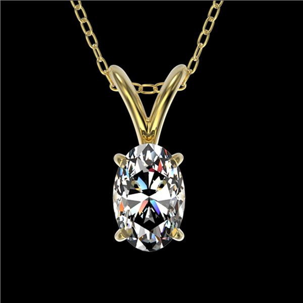 0.50 ctw Certified VS/SI Quality Oval Diamond Necklace 10k Yellow Gold - REF-65F2M