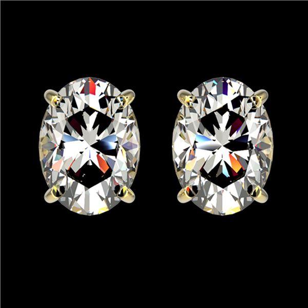 2 ctw Certified VS/SI Quality Oval Diamond Stud Earrings 10k Yellow Gold - REF-478Y6X