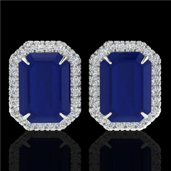 14 ctw Sapphire & Micro Pave VS/SI Diamond Earrings 18k White Gold - REF-136H4R