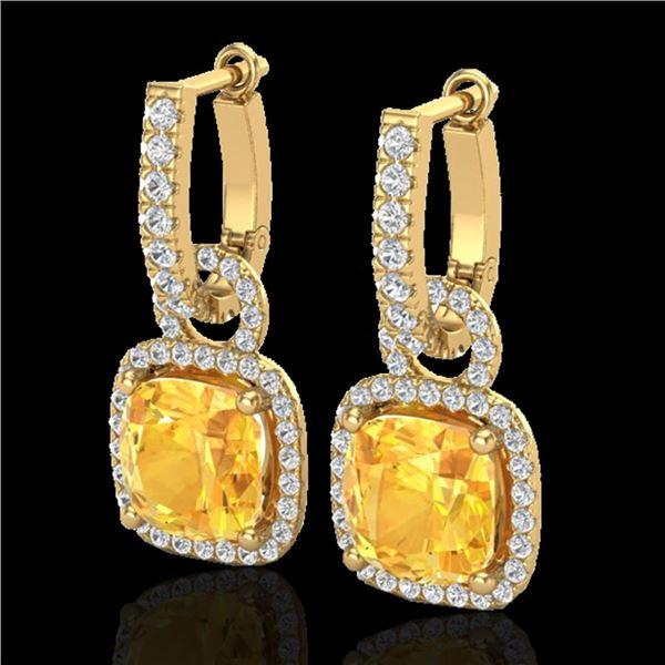 7 ctw Citrine & Micro Pave VS/SI Diamond Earrings 18k Yellow Gold - REF-100H2R