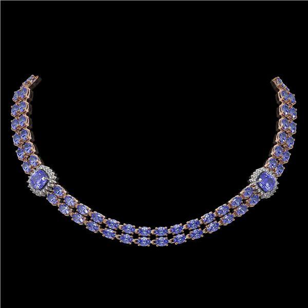37.96 ctw Tanzanite & Diamond Necklace 14K Rose Gold - REF-527A3N
