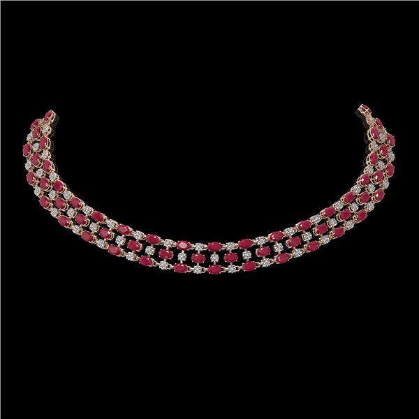 63.65 ctw Ruby & Diamond Necklace 10K Rose Gold - REF-618K2Y