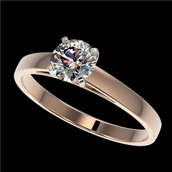 0.76 ctw Certified Quality Diamond Engagment Ring 10k Rose Gold - REF-68R2K
