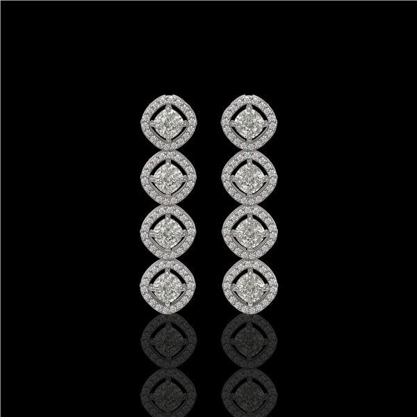 3.84 ctw Cushion Cut Diamond Micro Pave Earrings 18K White Gold - REF-337A5N