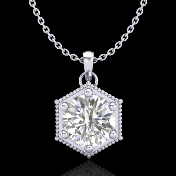 0.82 ctw VS/SI Diamond Solitaire Art Deco Stud Necklace 18k White Gold - REF-218R2K