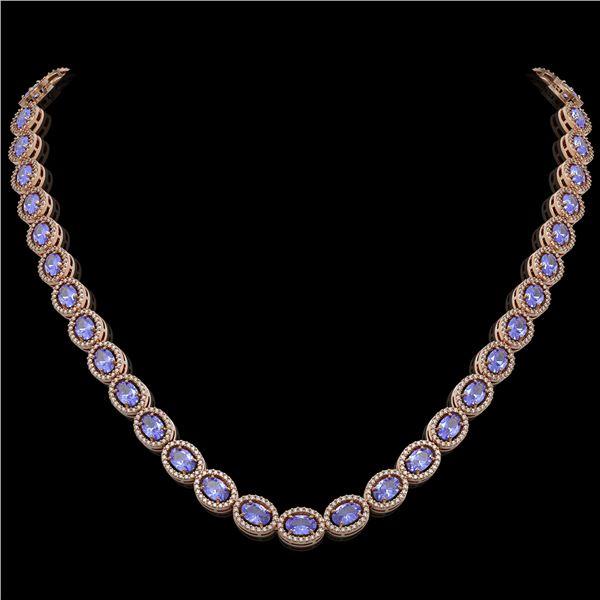 31.96 ctw Tanzanite & Diamond Micro Pave Halo Necklace 10k Rose Gold - REF-672K8Y