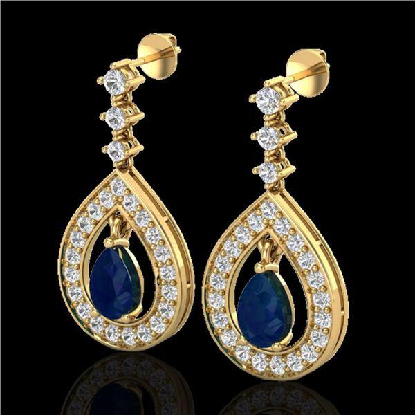 2.25 ctw Sapphire & Micro Pave VS/SI Diamond Earrings 14k Yellow Gold - REF-105N5F