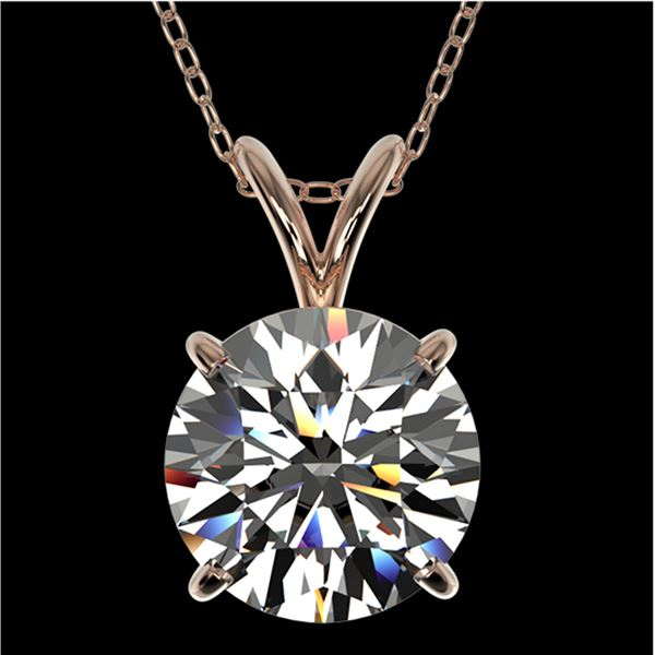 2 ctw Certified Quality Diamond Solitaire Necklace 10k Rose Gold - REF-449R5K