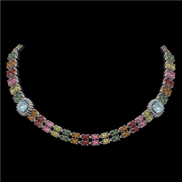 43.35 ctw Sapphire & Diamond Necklace 14K White Gold - REF-527K3Y