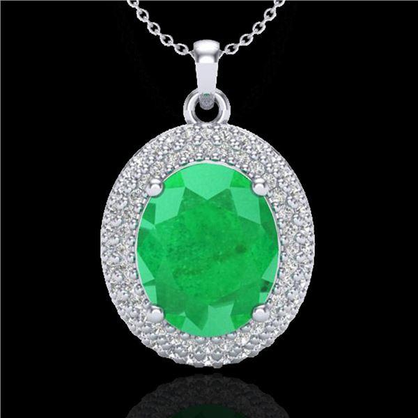 4.50 ctw Emerald & Micro Pave VS/SI Diamond Necklace 18k White Gold - REF-120A9N