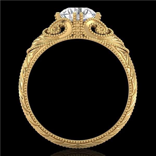 1 ctw VS/SI Diamond Solitaire Art Deco Ring 18k Yellow Gold - REF-315X2A