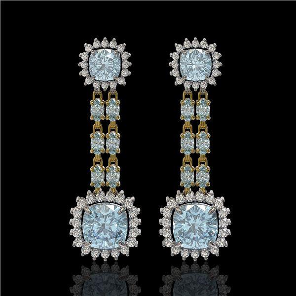 16.22 ctw Aquamarine & Diamond Earrings 14K Yellow Gold - REF-321K3Y
