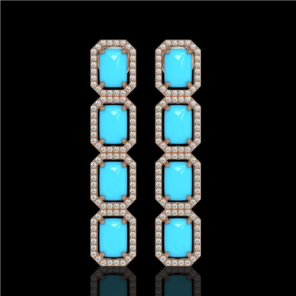 11.13 ctw Turquoise & Diamond Micro Pave Halo Earrings 10k White Gold - REF-145Y6X