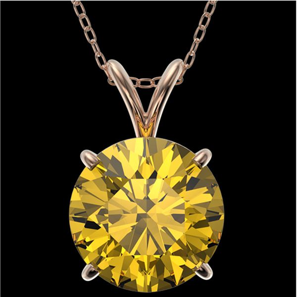 2.50 ctw Certified Intense Yellow Diamond Necklace 10k Rose Gold - REF-478N6F