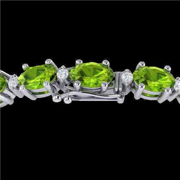 26.3 ctw Peridot & VS/SI Diamond Eternity Bracelet 10k White Gold - REF-174F4M
