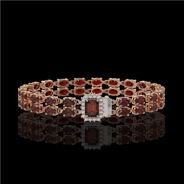 14.45 ctw Garnet & Diamond Bracelet 14K Rose Gold - REF-236W4H