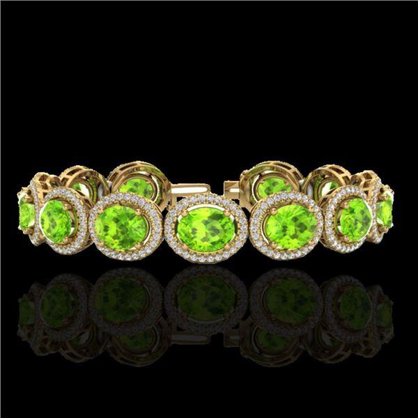 27 ctw Peridot & Micro Pave VS/SI Diamond Bracelet 10k Yellow Gold - REF-409Y3X