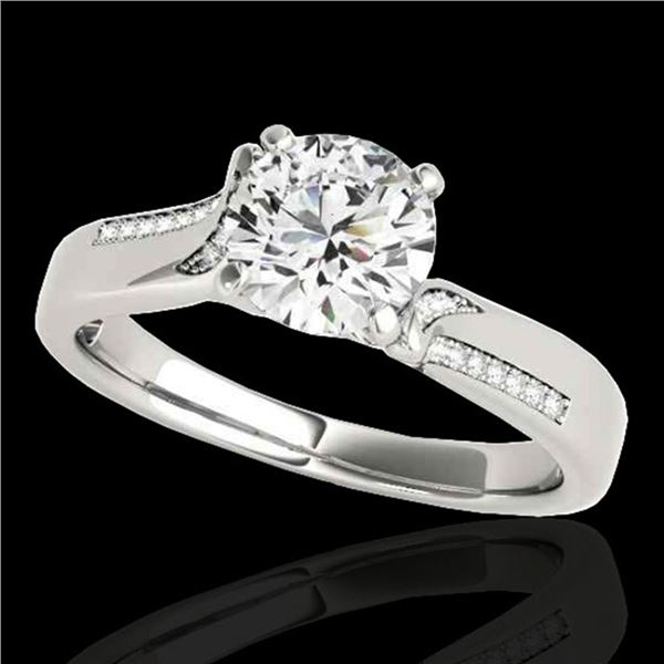1.18 ctw Certified Diamond Solitaire Ring 10k White Gold - REF-190G9W