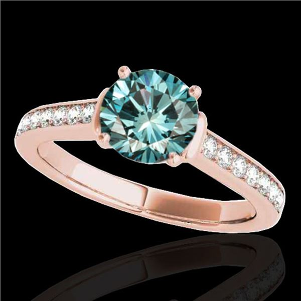 1.5 ctw SI Certified Fancy Blue Diamond Solitaire Ring 10k Rose Gold - REF-130R9K