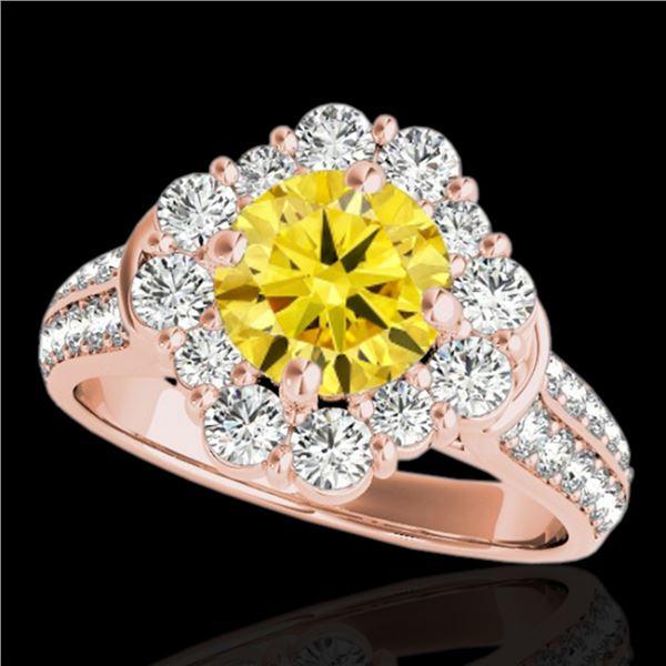 2.16 ctw Certified SI/I Fancy Intense Yellow Diamond Ring 10k Rose Gold - REF-190K9Y