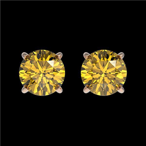 1.04 ctw Certified Intense Yellow Diamond Stud Earrings 10k Rose Gold - REF-95X3A