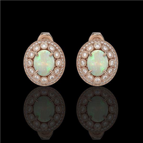 7.4 ctw Certified Opal & Diamond Victorian Earrings 14K Rose Gold - REF-227W8H