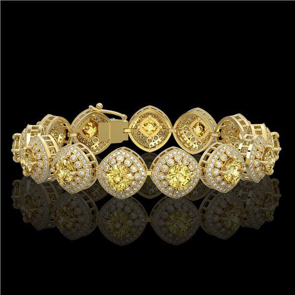 28.35 ctw Canary Citrine & Diamond Victorian Bracelet 14K Yellow Gold - REF-805A5N