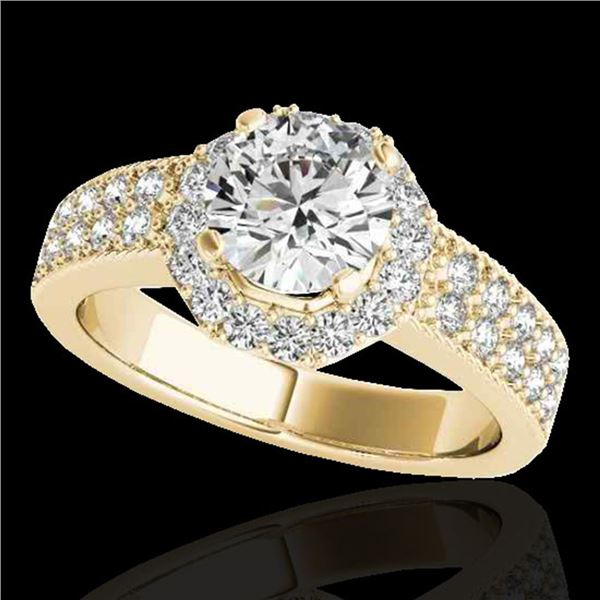 1.4 ctw Certified Diamond Solitaire Halo Ring 10k Yellow Gold - REF-204R5K