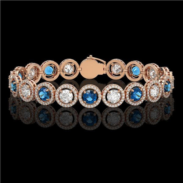 13.56 ctw Blue & Diamond Micro Pave Bracelet 18K Rose Gold - REF-2426X6A