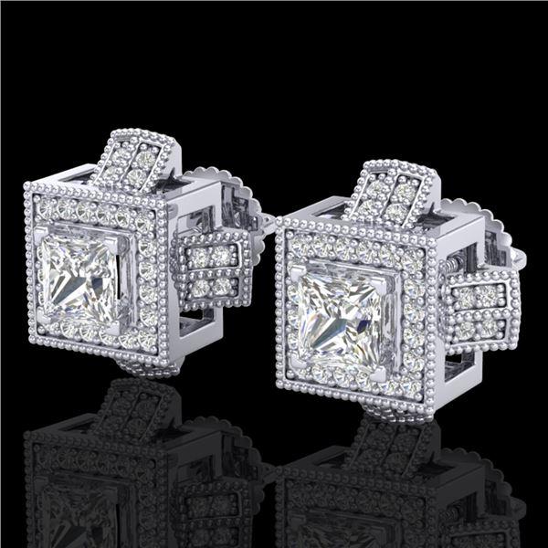 1.73 ctw Princess VS/SI Diamond Micro Pave Stud Earrings 18k White Gold - REF-254H5R