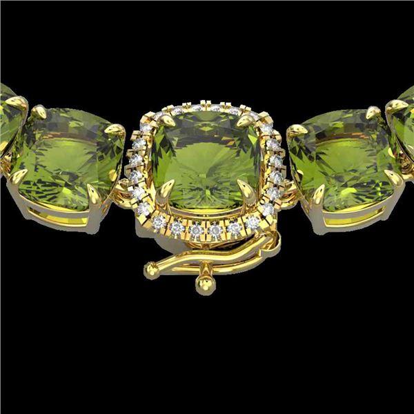 100 ctw Green Tourmaline & Diamond Micro Necklace 14k Yellow Gold - REF-1072N8F