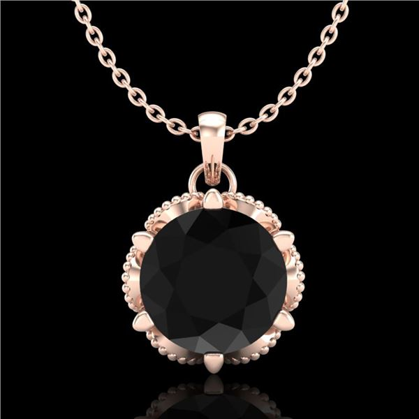 1.36 ctw Fancy Black Diamond Art Deco Stud Necklace 18k Rose Gold - REF-85F5M