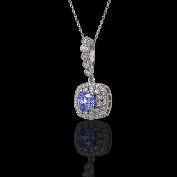 2.6 ctw Tanzanite & Diamond Victorian Necklace 14K White Gold - REF-100A2N