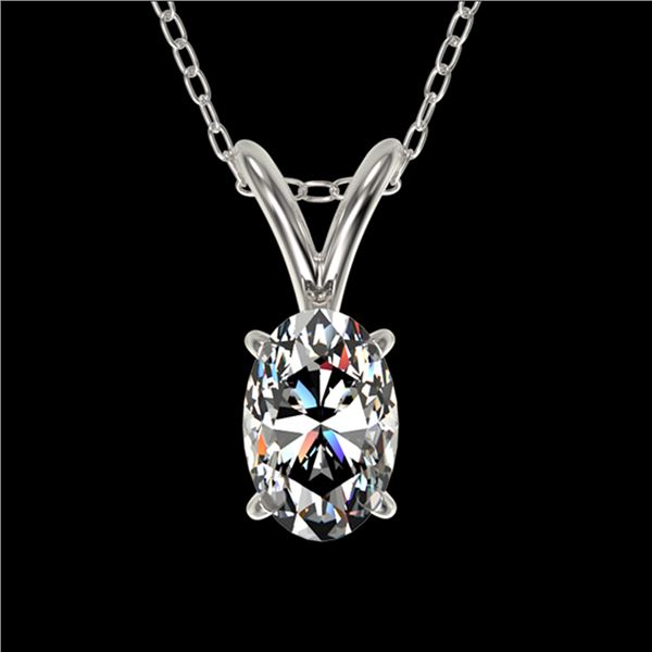 0.50 ctw Certified VS/SI Quality Oval Diamond Necklace 10k White Gold - REF-65Y2X