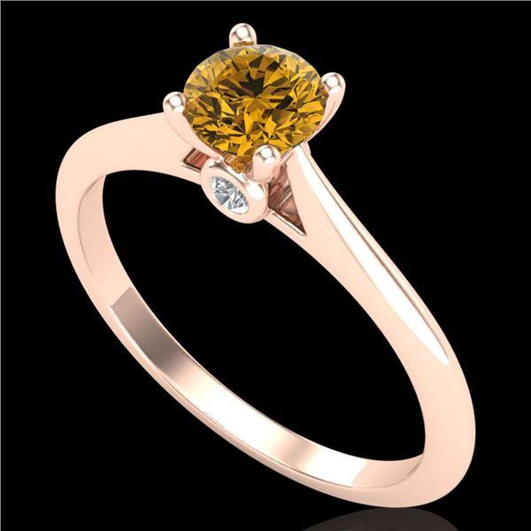 0.56 ctw Intense Fancy Yellow Diamond Art Deco Ring 18k Rose Gold - REF-72R3K