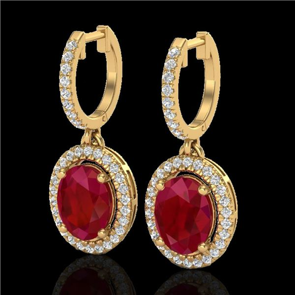 4.25 ctw Ruby & Micro Pave VS/SI Diamond Earrings Halo 18k Yellow Gold - REF-118A2N
