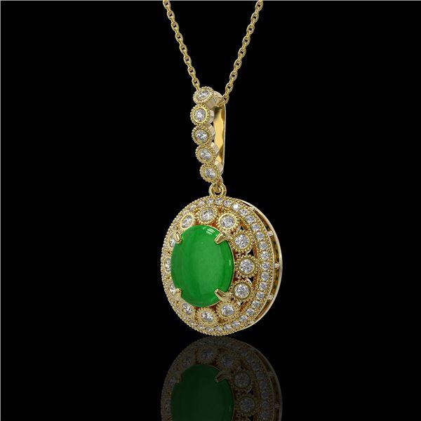 5.51 ctw Jade & Diamond Victorian Necklace 14K Yellow Gold - REF-156G8W