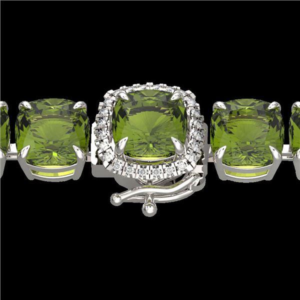 40 ctw Green Tourmaline & Micro VS/SI Diamond Bracelet 14k White Gold - REF-404N4F