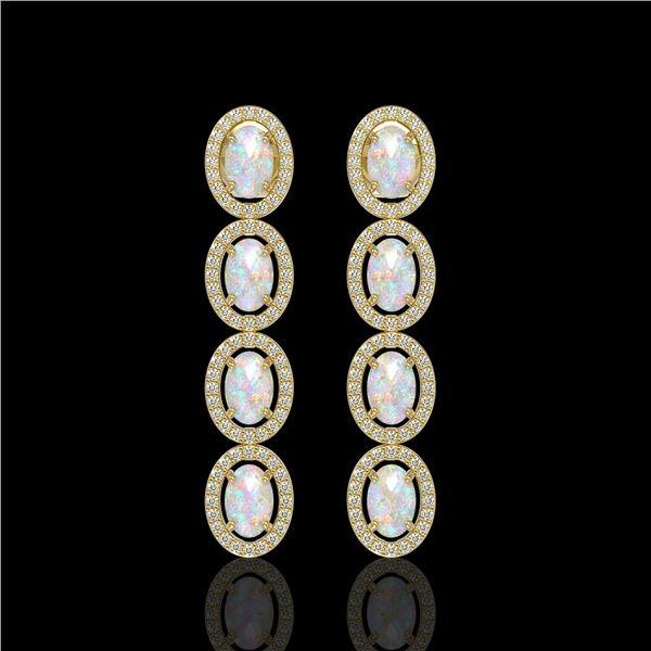4.05 ctw Opal & Diamond Micro Pave Halo Earrings 10k Yellow Gold - REF-143A6N