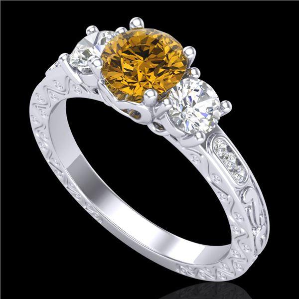 1.41 ctw Intense Fancy Yellow Diamond Art Deco Ring 18k White Gold - REF-227F3M