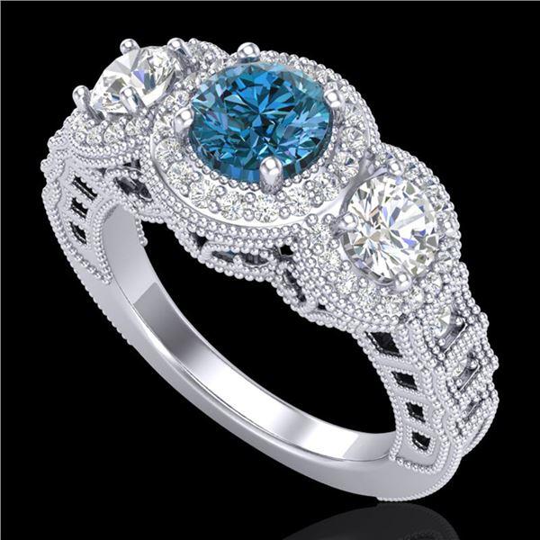2.16 ctw Intense Blue Diamond Art Deco 3 Stone Ring 18k White Gold - REF-270K9Y
