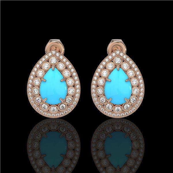 7.54 ctw Turquoise & Diamond Victorian Earrings 14K Rose Gold - REF-218N2F