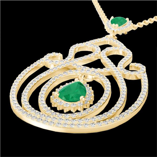 3.20 ctw Emerald & Micro Pave Diamond Heart Necklace 14k Yellow Gold - REF-212W8H
