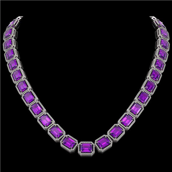 76.69 ctw Amethyst & Diamond Micro Pave Halo Necklace 10k White Gold - REF-711A3N