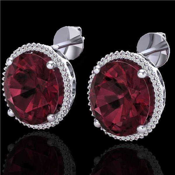 20 ctw Garnet & Micro Pave VS/SI Diamond Earrings 18k White Gold - REF-118X2A