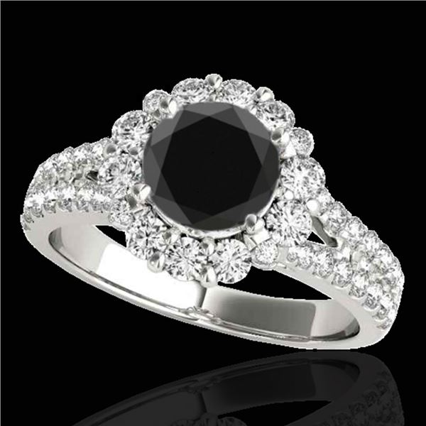 2.01 ctw Certified VS Black Diamond Solitaire Halo Ring 10k White Gold - REF-76X6A
