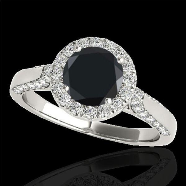 2.15 ctw Certified VS Black Diamond Solitaire Halo Ring 10k White Gold - REF-72K8Y