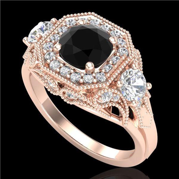2.11 ctw Fancy Black Diamond Art Deco 3 Stone Ring 18k Rose Gold - REF-180N2F