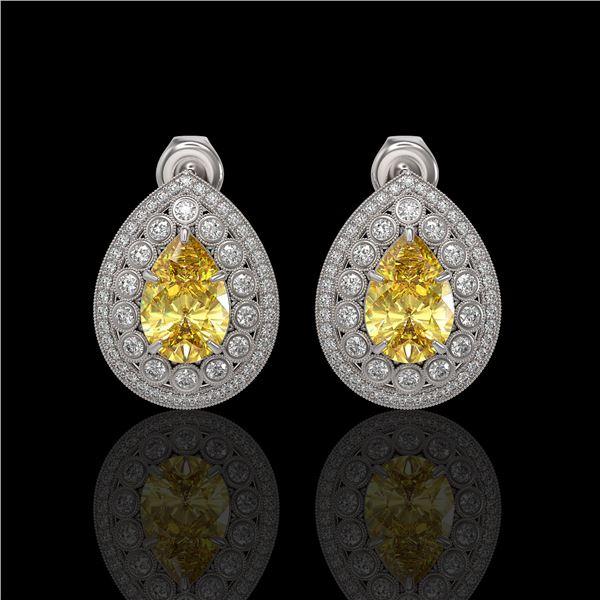 7.74 ctw Canary Citrine & Diamond Victorian Earrings 14K White Gold - REF-180G2W